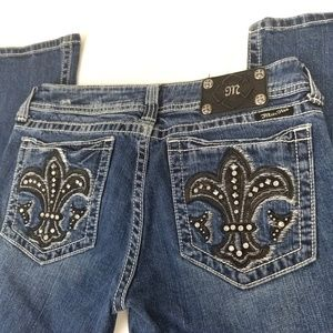 Miss Me Fleur De Lis Embellished Bootcut Jeans